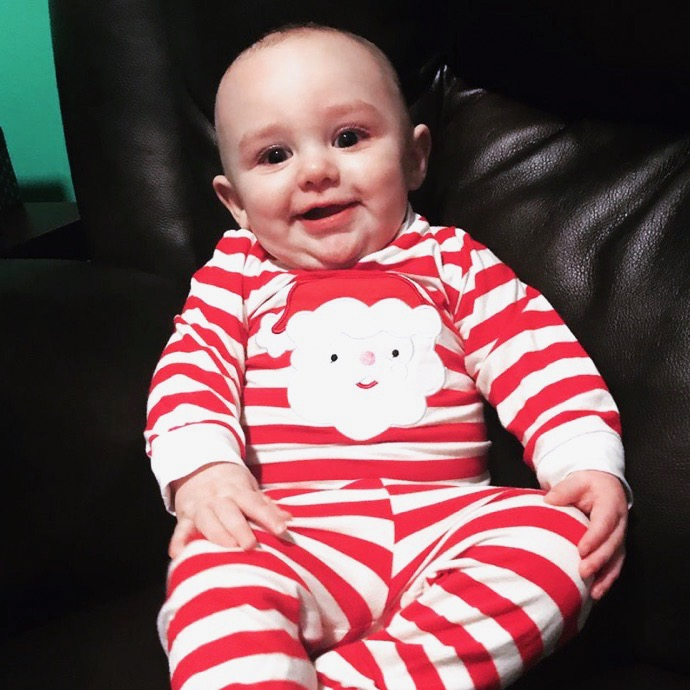 6 month old Jaxon on Christmas Eve 2017